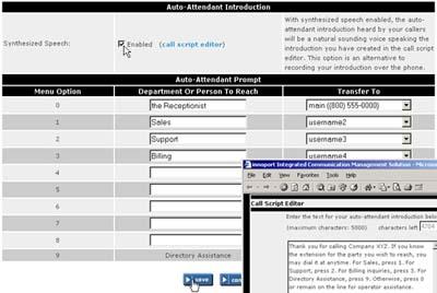 Innoport Auto Attendant screen shot