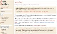 Project Gutenberg screen shot; free online books