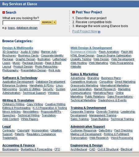 Elance Online Provider Listing