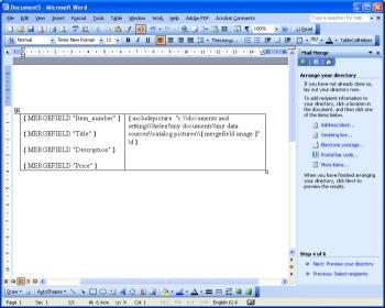 Mail merge screen shot