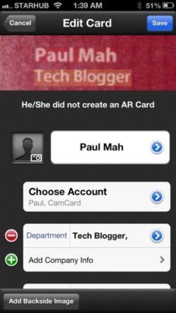 CamCard business card scanning app