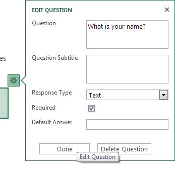 Add survey questions in Excel Web app
