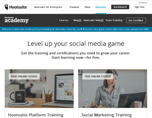 Hootsuite Academy: free social media training