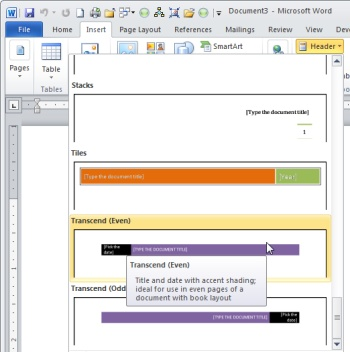 Header and footer tips in Microsoft Word