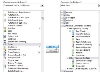 Microsoft Word 2010 commands