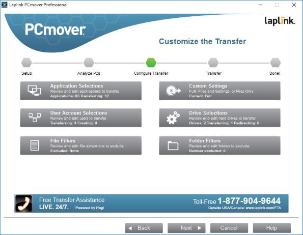 Laplink PC Mover: customize on new