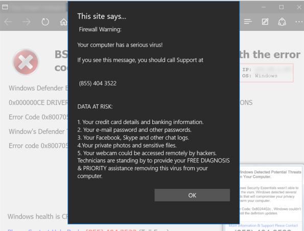Fake browser security warning