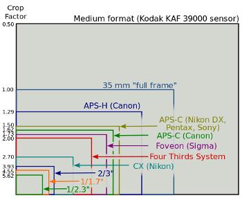 compariosn of sensor sizes in digital cameras