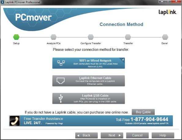 Laplink PC Mover old transfer methods