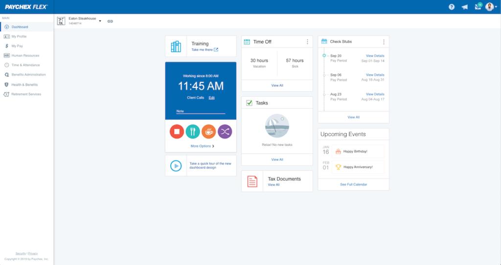 Screenshot of Paychex payroll dashboard.