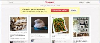 Pinterest.com home page; social media
