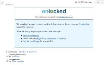 Enlocked encrypted email