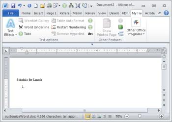Microsoft Word 2010 tabs