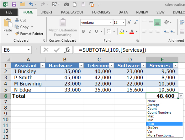 Excel tools: calculate with tables