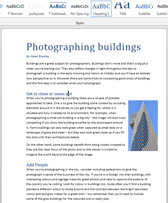 Formatting with styles: Microsoft Word