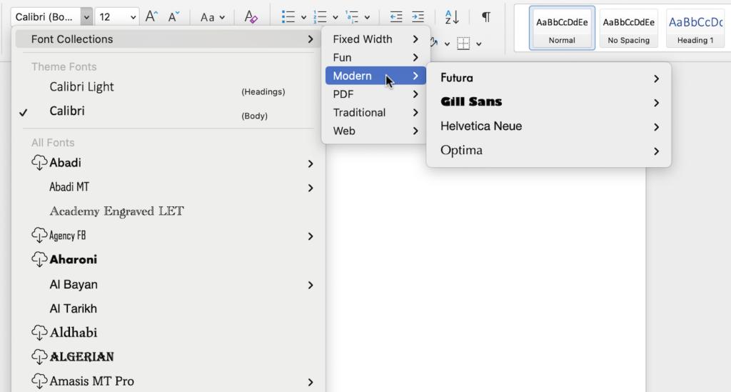 Screenshot of font options in Microsoft Word.