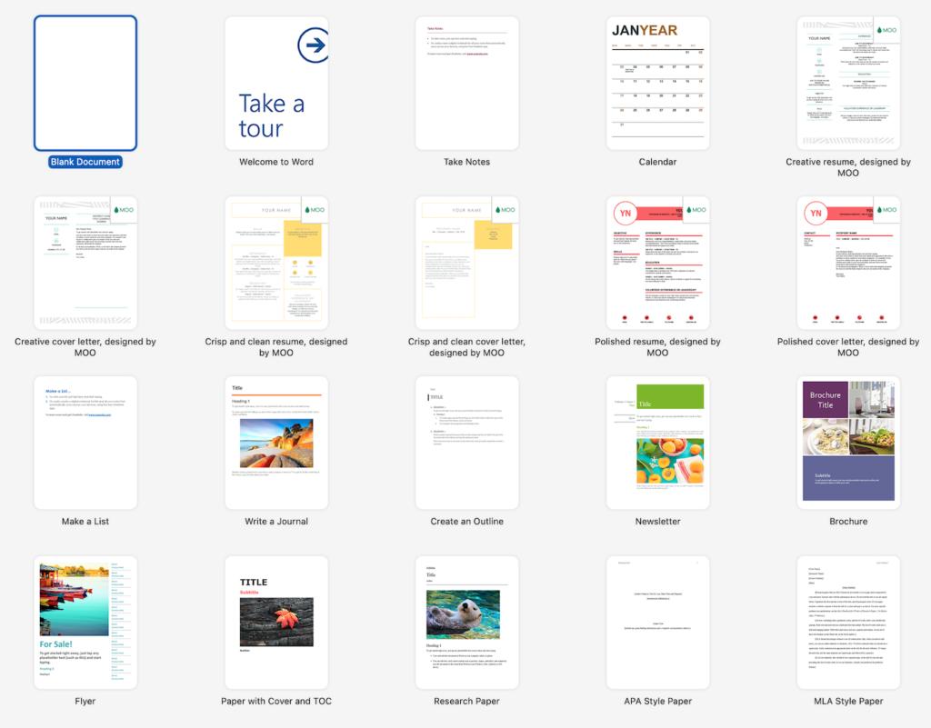 Screenshot of template options in Microsoft Word.