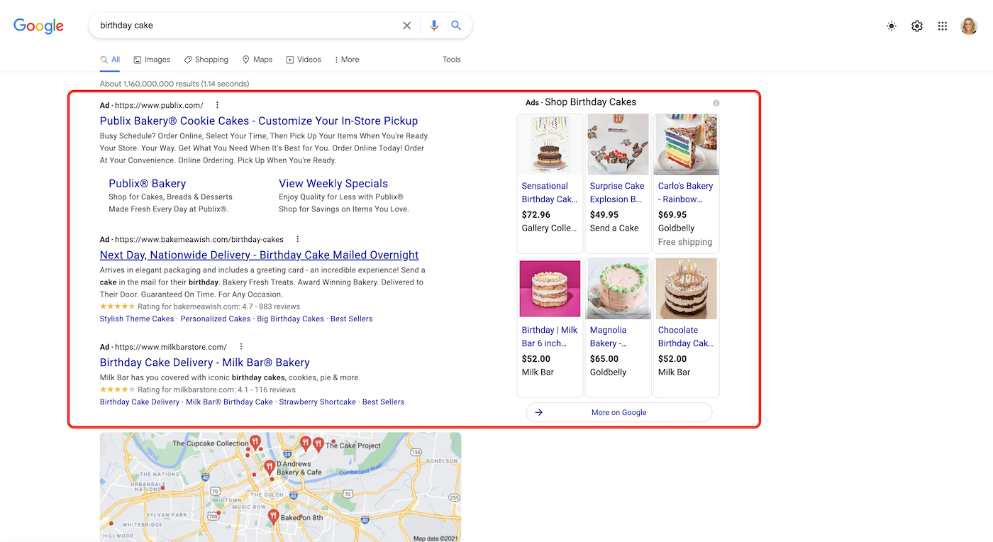 "Screenshot of SEM ads under the search term ""birthday cake"" on Google."