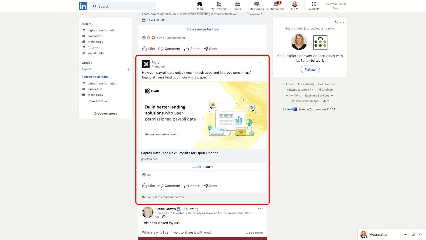 Screenshot of social media marketing ad on LinkedIn.
